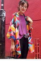 Colorful Irregular Geometric Lattice Cotton Shawl Scarf LC40544