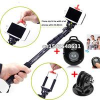 Wireless Remote Shutter + tripod Monopod +tripod adapter+ Bracket for Gopro iPhone 5s/5c/5/4s