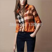 2014 Autumn Fashion female Tops Casual Blouse Turndown Collar Long Sleeve Plaids Print Pattern Flannel Shirt Free Shipping WS014