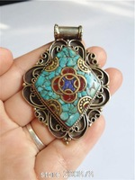TBP778  Nepal Vintage Handmade Jewelry Tibetan Big metal inlaid turquoise Pendant Wholesale ethnic jewel