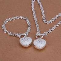 S025 925 sterling silver jewelry set, fashion jewelry set Inlaid Heart Key To /aihaizoa fylaopsa