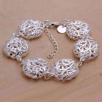 H235 925 sterling silver bracelet, 925 sterling silver fashion jewelry Hollow Flat Flower Bracelet /aqbajhia ebramsya