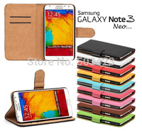 Galaxy Note 3 Neo Wallet Cases,Book Style Real Genuine Leather Cover Case For Samsung Galaxy Note 3 Lite Neo card holder &Stand