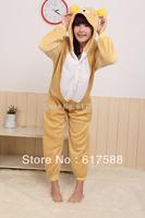 2014 NEW Animal Pajamas Onesie Pyjamas Rilakkuma Bear vestido Cosplay Costume Sleepwear Sleepsuit Unisex Adult Polar Fleece