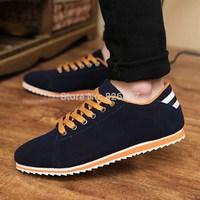 Hot sale spring autumn fashion men's canvas shoes leather lace-up flat Sneaker for men European style plus size leisure shoes