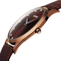 2014 SINOBI Brown Leather Strap Watch for Men Quartz Military Waterproof Man Wristwatch SDU1003