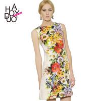 Fashion fancy digital print cotton damask print one-piece dress women dress vestidos casual dress