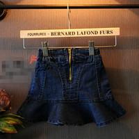 2T-8 children girl kids cowboy mini skirt baby girls Fishtail skirt flounced fashion patchwork skirts for girls