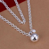N045 925 sterling silver Necklace, 925 silver Pendant fashion jewelry  Ball Necklace /albajcia dwramnya