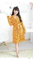 Free Shipping Cute Tigger Flannel sleepwear Night-robe skirt nightgown warm pajama bathrobe