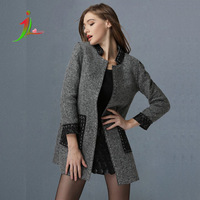 Europe and the United States winter 2014 major suit new wool coat composite lace high-end craft overcoat