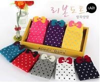 Cotton Socks 5pairs/lot Multi Candy Color Women's Gir's Cute Sock Three-dimensional Bow Polka Dot Ankle Socks 10pcs=5pairs