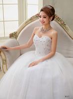 Salomon Wedding Dresses White Lace Bridal gown Crystal Sweatheart Strapless Floor Length Ball Gown Vestido de noiva X040