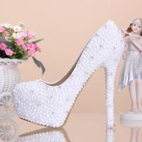 Pearl rhinestone platform high-heeled white bridal diamond single full rhinestone wedding shoes