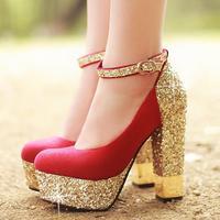 Wedding shoes 2014 high-heeled shoes thick heels single  high-heeled  bridal shoes