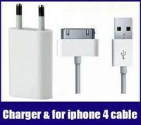 usb wall charger adapter + free data cable cabo kabel for apple iphone 4 4s ipad 2 3 ipod free shipping