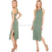 Back slim cross elastic Army Green knitted medium-long one-piece dress women dress vestidos casual dress