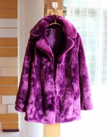Fashion winter normic star style elegant faux rabbit fur coat