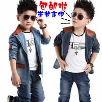 2014 New Arrival Fashion Male Child Spring Autumn Cotton Denim Outerwear Terno Infantil Boys Blazer Jacket