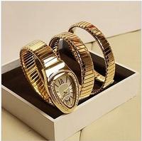 2014 famouse brand women dress watches quartz vintage snake bracelet  women rhinestone watches lady gift