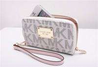 10pcs Hot  Genuine Leather original Michaeled Zipper bag Cross pattern wallet case for 5/5G/5S 4/4S wih retail box-p18