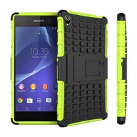 2 in 1 PC + TPU Rugged Hybrid Heavy Duty Robot Hard Back Armor Case Kickstand Cover For Sony Xperia Z3