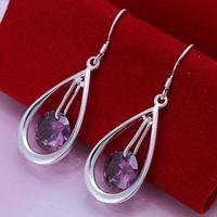 Christmas Gift!!Wholesale 925 Silver Earring 925 Silver Fashion Jewelry,Crystal Water Drop Earrings SMTE183