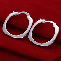 Hot Sale!!Free Shipping 925 Silver Earring,Fashion Sterling Silver Jewelry Flat Square Round Earrings SMTE123