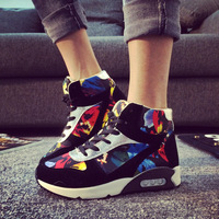 Breathable Height Increasing spring and autumn female high casual shoes Fashion sneakers canvas shoes