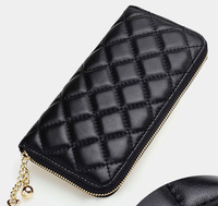 New arrive long leather wallets genuine leather lattice pattern women clutch bag fashion ladies purse wallet money clip