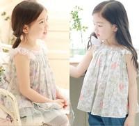 free shipping CS4085 Girls cotton  print summer shirt 5 pcs/LOT
