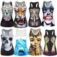 2015 New Halloween fashion summer dresses Women sleeveless t shirt greenery/animal/cartoon Milk Dad Thief 3d Vest Tanks Tops Tee