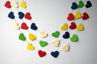 12 Feets Paper Heart garland, Kid's room decor, Heart banner, Multicolored  Wedding decoration, Bridal Shower decor, Nursery
