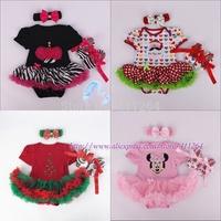 15sets/lot(0-1Y)Newborn Photography Props Baby Girls Dress Christmas Xmas Santa Tree Headbands Bodysuit Tutu skirt Toddler shoes