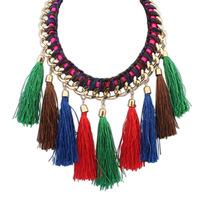 2014 New Vintage Wholesales Fashion Western Statement Elegant Punk Long Tassel Pendant Choker Necklace Jewelry