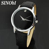 New 2014 SINOBI Classic Design Luxury Brand Quartz Leather Band Watch for Women Men Waterproof Watch With Tag