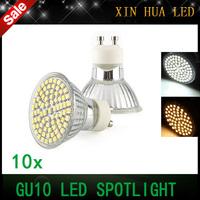10pcs  free shipping  GU10 SMD3528  60LEDS 110V-240V gu 10 Spotlight  Led lamp Light Downlight Led Bulbs Warm/Cool White