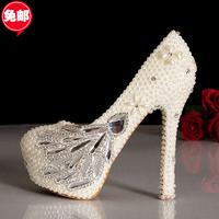 Luxury honourable pearl rhinestone wedding shoes crystal bridal formal dress single  women's shoes