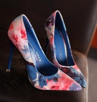 Pointed toe high quality princess shoes print satin fabric thin heels sweet single  high-heeled shoes