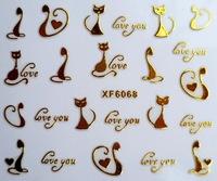 Freeshipping 1 Sheet Nail Art Sticker- 3D Cat Decal #49 XF6068 Transfer Black Shiny Metallic Gold Wrap- 3D Design Tip Sticker