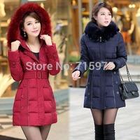 Women winter down & parkas Pluz Size XL-5XL 2014 New fashion brand down cotton fur collar long jacket overcoats coats of fur