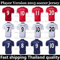 Best Thai Quality new 2015 FALCAO DI MARIA JANUZAJ ROONEY V.PERSIE soccer jerseys player version 14 15 Home Away shirt uniforms