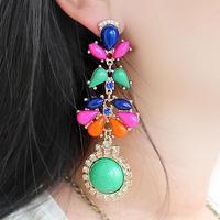 Wholesale Jewelry Fashion Faux Stone Floral Drop Earrings Women Pendientes Brincos Bridal Wedding 39G 8746