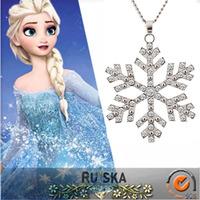 Frozen Princess ELSA stainless steel snowflake pendant NECKLACE
