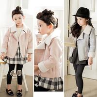 Carme children's clothing girl child 2014 female child winter fashion leather velvet long-sleeve outerwear girl winter coat