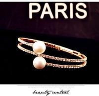 Elastic claw chain crystal pearl bracelet Bracelets & Bangles CB045