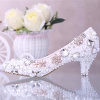 Pearl bridal crystal rhinestone wedding shoes flower female single pointed toe