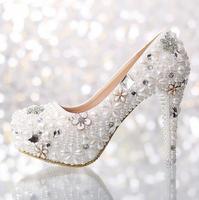 Flower Pearl Wedding Shoes White High Heeled 12 cm  Platform Formal Rhinestone Bridal