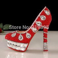 Red pearl rhinestone platform high-heeled wedding shoes formal dress  girl shoes