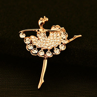 CC Jewelry 18K Gold Plated Newest Brooch Luxury Full Crystal Dance Girl Brooch Pin High Quality Brooch Scarf Pin